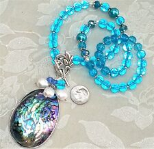 Necklace & Genuine Abalone Pearl Removable Pendant Wear 4 Ways FREE SHIP