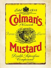 COLMANS MUSTARD KITCHEN ADVERTISING METAL SMALL SIGN pub bar shop cafe tea room