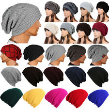 Mens Ladies Warm Knit Knitted Woolly Winter Oversized Slouch Beanie Hat Ski Cap