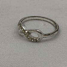 Silver Colored Metal Infinity Symbol Ring W/ Clear Stones Fashion Jewelry-Size 8