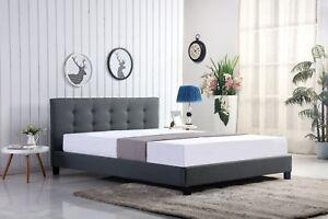 Grey/Mink Bergen Designer Fabric Bed - 4ft6, 5ft - Mattress Options