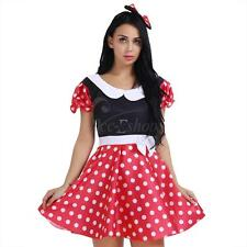 Sexy Womens Lady Minnie Mouse Polka Dot adult costume Party Fancy Dress Cosplay