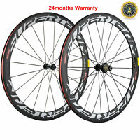 700C 50mm Carbon Wheels Road Bike Clincher Bicycle Wheelset Shimano 3k Matte US