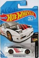 Hot Wheels 1996 Nissan 180SX Type X Diecast White Car 1:64 Scale on Card, 240SX