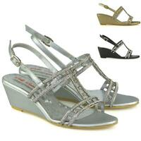 Womens Mid Heel Wedge Shoes Ladies Diamante Bridal Sparkly Strappy Sandals Size