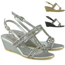 Para mujeres Zapatos Tacón Cuña Medio Señoras Diamante Nupcial Brillante Con Tiras Sandalias Tamaño