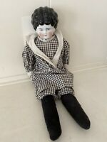 """Antique 1890s German China Head Doll Low Brow 15"""""""