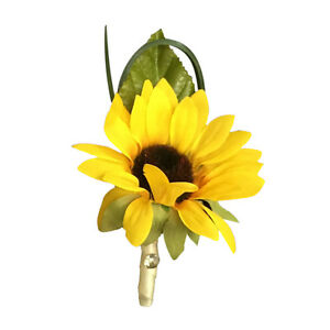 Sunflower Boutonniere with Greenery - Pick Ribbon Color