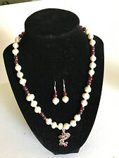 New set of cultured white pearl agate necklace earrings w 925 kt silver pendant