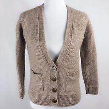 Club Monaco Women Sz S Lambwool Cashmere Elbow Pad Brown Taupe Cardigan Sweater
