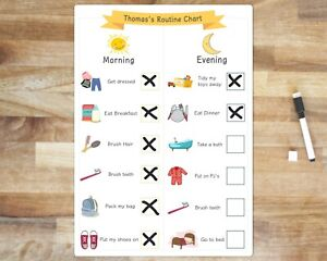 Personalised Kids Routine chart, Morning And Evening Planner, Toddler Rewards.