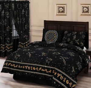 Double Bed Duvet Cover Set Celestial Horoscopes Black Gold Yellow Bedding Set