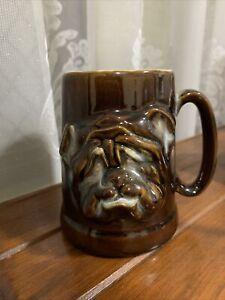 Brown Glazed Tankard/Mug With Bulldog Face