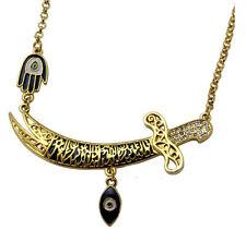 Evil Eye Islamic Imam Ali Zulfiqar Sword Pendant Necklace Shia Shite Hamsa Hand