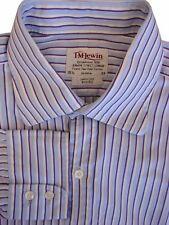 TM LEWIN 100 Shirt Mens 15.5 M Blue – Purple & White Stripes SLIM FIT