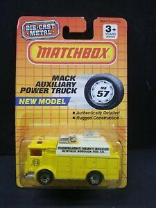 Matchbox MB57 Mack Auxiliary Power Truck Yellow Newfield Borough Fire Co 1991