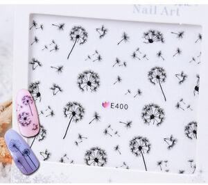 Nail Art Water Decals Transfers Stickers Black Dandelions Gel Polish (E400)