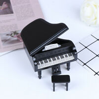 1:12 Dollhouse Miniature Black Wooden Grand Piano with Stool Model Play Toys