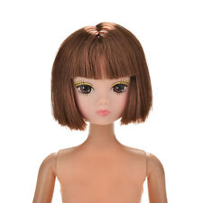 1 Pc Doll Head Fashion Flaxen Short Hair Students Head Wigs For s Doll Fad CA