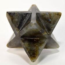 "2.5"" Natural Labradorite 8 Point Merkaba Star Feldspar Crystal Stone Madagascar"