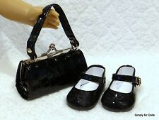 "2pc BLACK Patent Mary Jane DOLL SHOES & Clasp PURSE SET fits 18"" AMERICAN GIRL"