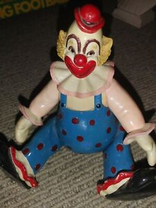 Vintage Mid Century Vinyl Clown Moving Arms Music Box Holder Figure