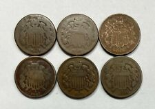 1864, 1865, 1866, 1867, 1868 & 1869 Two Cent Pieces - 6 Coin Lot