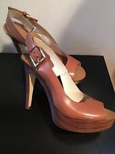 NEW MICHAEL KORS BROWN OPEN TOE LEATHER SLINGBACK PLATFORMS & WEDGES SIZE 6