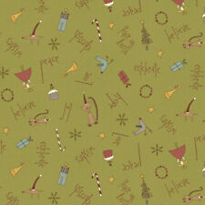 Henry Glass Peace on Earth (4790-350), Green Quilting Fabric, Per 1/4 Metre