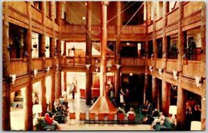 "1950s GLACIER NATIONAL PARK Postcard ""Many Glacier Hotel"" Lobby Scene Chrome"