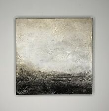 Modern Original Abstract White On White Painting Heavy Texture Mica Glitter