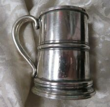 """ANTIQUE ADORABLE  2-1/2"""" HIGH X 2-1/2 WIDESIGNED R HB C 1-1/2OZ STERLING TANKARD"""