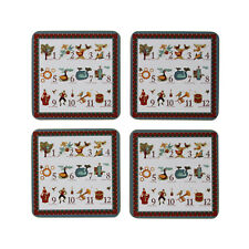 Set Of 4 11cm Square Coasters Kitchen Table 12 Days Of Christmas Drink Glass Mat