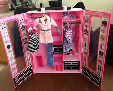 Barbie Wardrobe Closet Carry Case Mattel 2013 with clothes and shoes