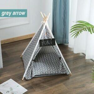 Puppy Cat Dog Teepee Sleeping Tent Bed House Cushion Indoor Portable Gray Arrow