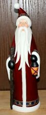 """Decorative Santa Claus With Lantern And Walking Stick,15 1/2""""Tall Pre owned"""