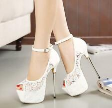 Womens Lace Wedding shoes Ankle Wedding Shoes Open Toes Stilettos US8 White