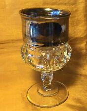 """Vtg Indiana Glass Silver / Platinum Flashed King Crown 5 5/8"""" Goblet Stemware"""