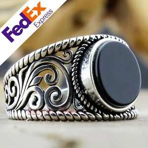 Onyx Stone 925 Sterling Silver TURKISH Handmade Luxury Men Ring All Sizes