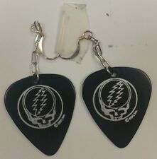 GRATEFUL DEAD EARRING STEAL YOUR FACE GUITAR PICK LICENSED 1 x 1 SILVER LOGO