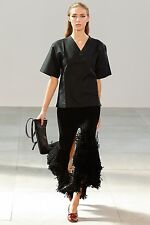 **CELINE** Black Silk Blend Split Fringed Fringe Skirt **REDUCED IN PRICE**