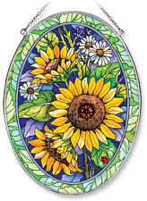 Sunflowers Sun Catcher AMIA Hand Painted Large Oval Leaves Ladybug Yellow Green
