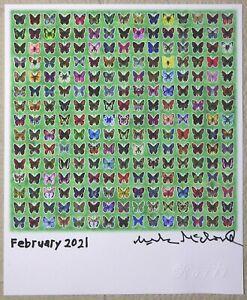 Blotter art green Butterflies Mark McCloud signed Rafti