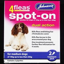 JOHNSONS 4FLEAS M DOG SPOT-ON DUAL ACTION TREATMENT KILLS FLEAS & NEARBY LARVAE