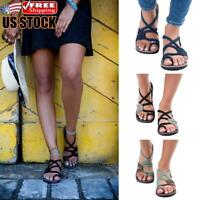 Womens Boho Braid Sandals Gladiator Ladies Summer Beach Flip Flops Flat Shoes US
