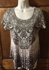 NWOT World Unity Size Small Black & White Embellished Print Knit Top