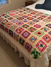 Afghan Blanket Throw Granny Squares Rainbow Colors Pinks Hippie Fun Handmade