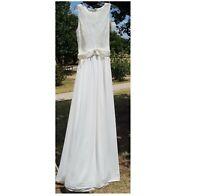 BADGLEY MISCHKA Women's size 2 Sleeveless Gown Ivory Dress Formal Floor Length