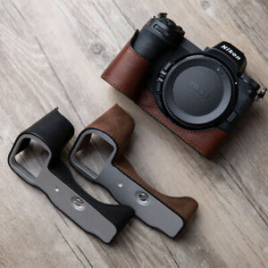 Vintage Genuine Real Leather Camera Case Handmade Half Bag For Nikon Z6 Z7