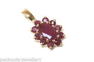 9ct Gold Ruby Pendant cluster Necklace no chain Made in UK Gift Boxed